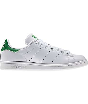 adidas Stan Smith White & Green Shoes (Womens)