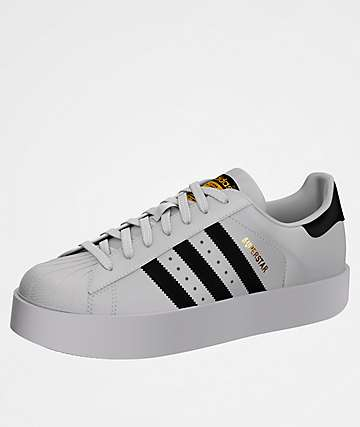 adidas Superstar Bold White & Black Shoes