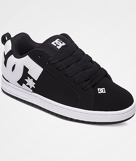 dc court graffik black white shoes