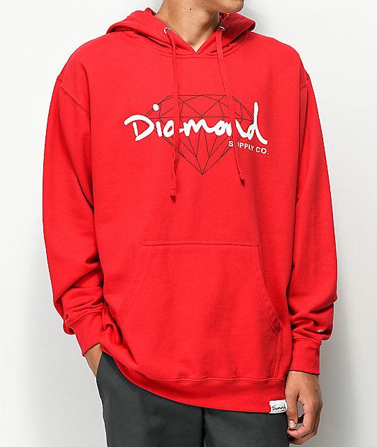 Diamond supply co red hoodie