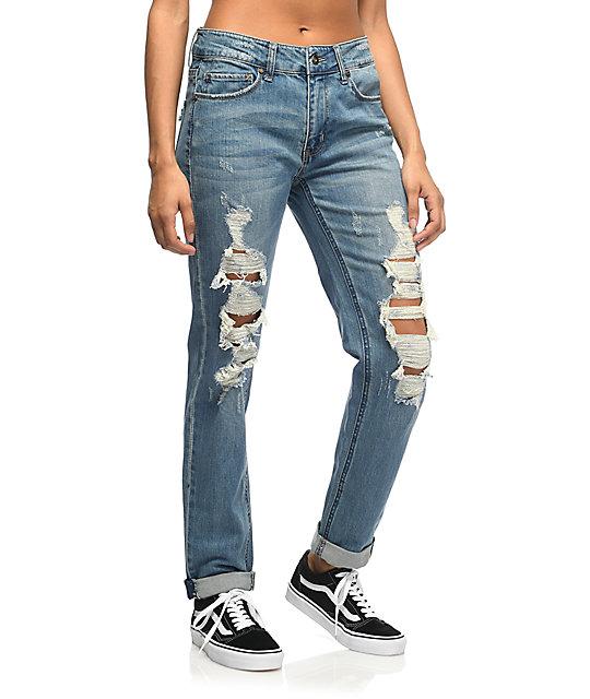 Empyre easton med wash shredded boyfriend jeans for Boyfriend jeans mit netzstrumpfhose