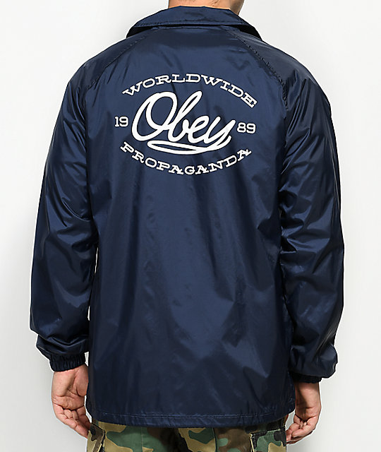 Lineas Navy & White Coaches Jacket