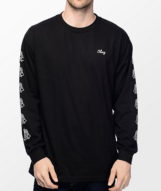 Obey mira rosa 2 black long sleeve t shirt for Black obey t shirt