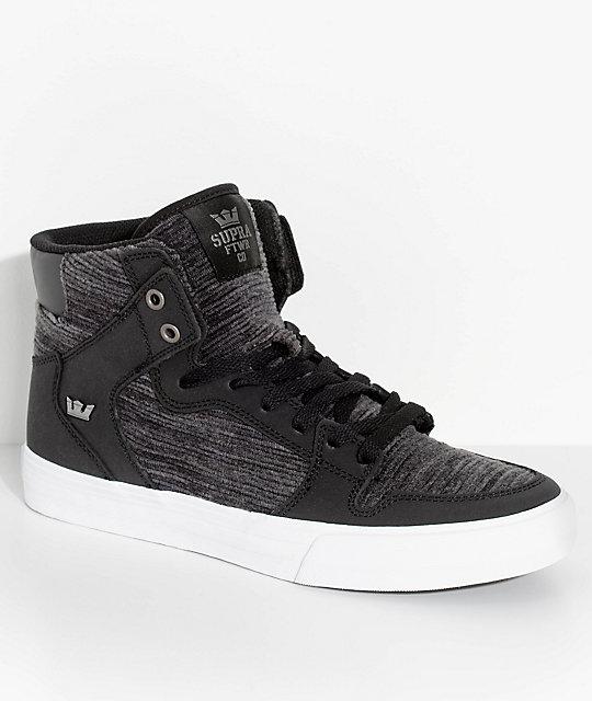 supra vaider black white corduroy skate shoes