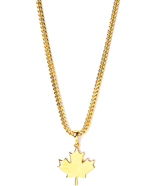 the gold gods maple leaf gold necklace