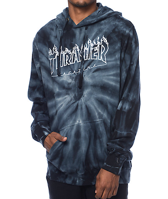 thrasher silver flame logo grey tie dye pullover hoodie. Black Bedroom Furniture Sets. Home Design Ideas