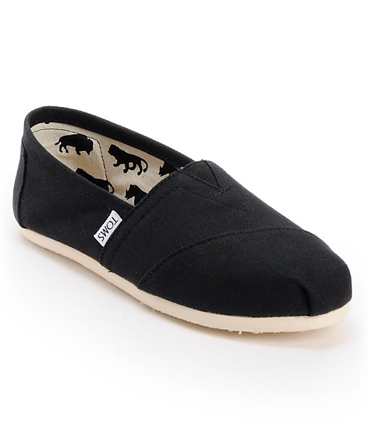 toms classics canvas black slip on womens shoes