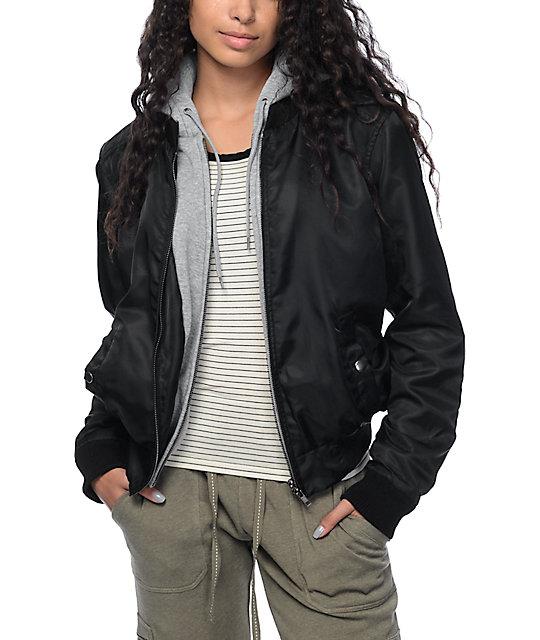 Mika Black Bomber Fleece Hooded Jacket