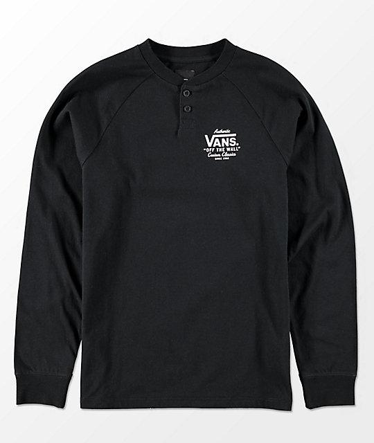Vans boys denton long sleeve black henley shirt for Black long sleeve henley shirt