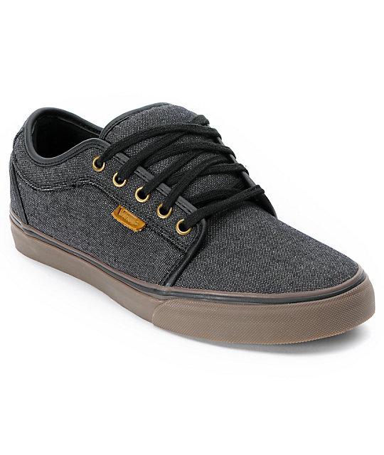 vans chukka low black canvas gum skate shoes