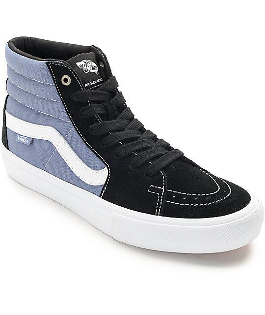 vans shoes blue. vans sk8-hi pro black, blue, \u0026 white skate shoes blue