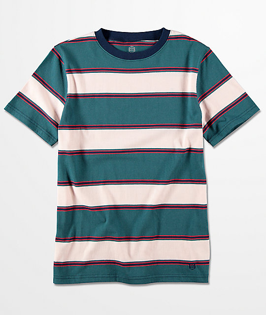 Zine boys slouch teal multi stripe t shirt for Boys teal t shirt