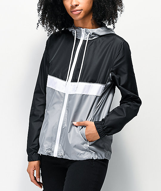 Shalia Black, White & Grey Windbreaker Jacket