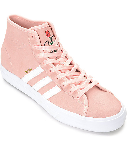 Adidas Matchcourt Hi Rx Pink Amp White Suede Shoes