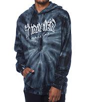 Thrasher Silver Flame Logo Grey Tie Dye Pullover Hoodie
