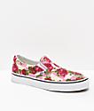 Vans Slip-On Floral & White Skate Shoes