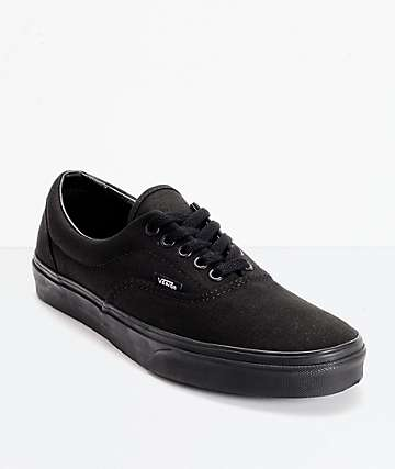 solid black vans shoes