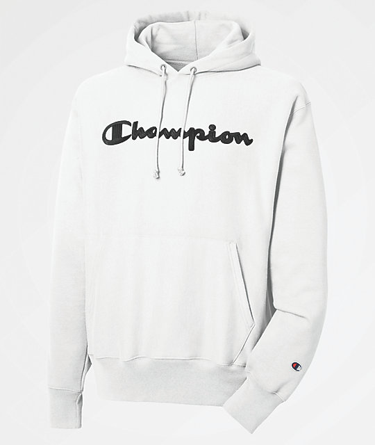 Champion Reverse Weave  White Chain Stitch Script Hoodie